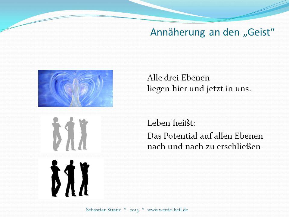 """Annäherung an den """"Geist Sebastian Stranz * 2015 * www.werde-heil.de Alle drei Ebenen liegen hier und jetzt in uns."""