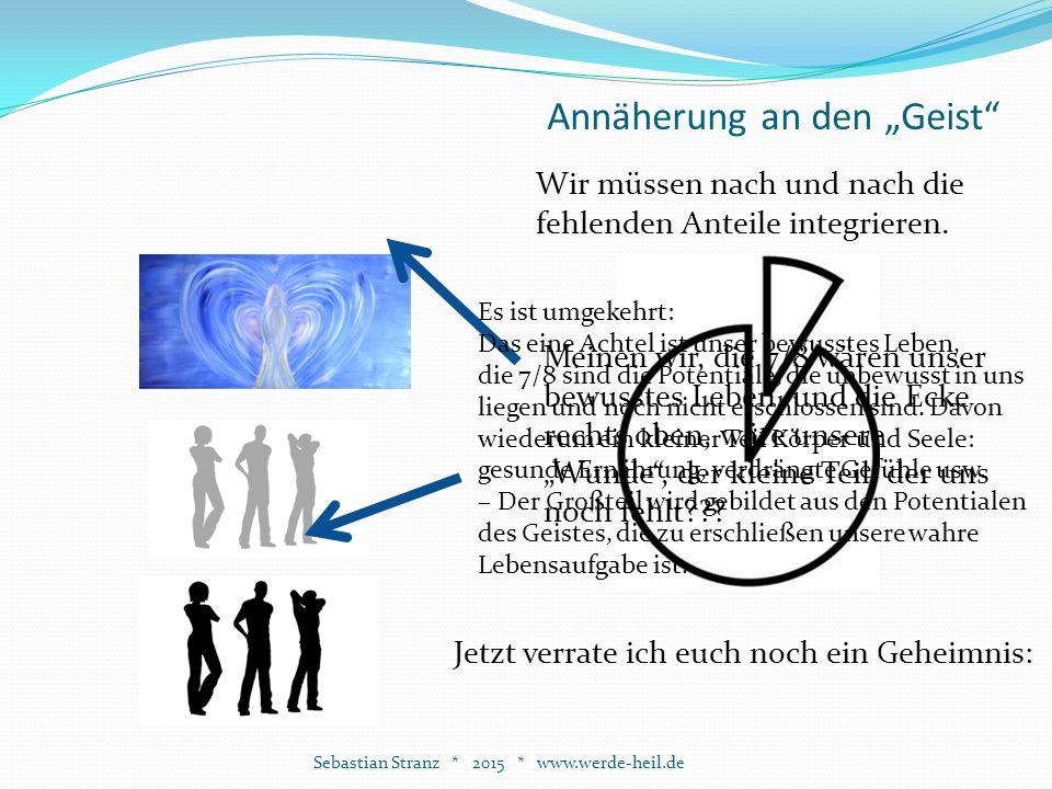 """Annäherung an den """"Geist Sebastian Stranz * 2015 * www.werde-heil.de Wir müssen nach und nach die fehlenden Anteile integrieren."""