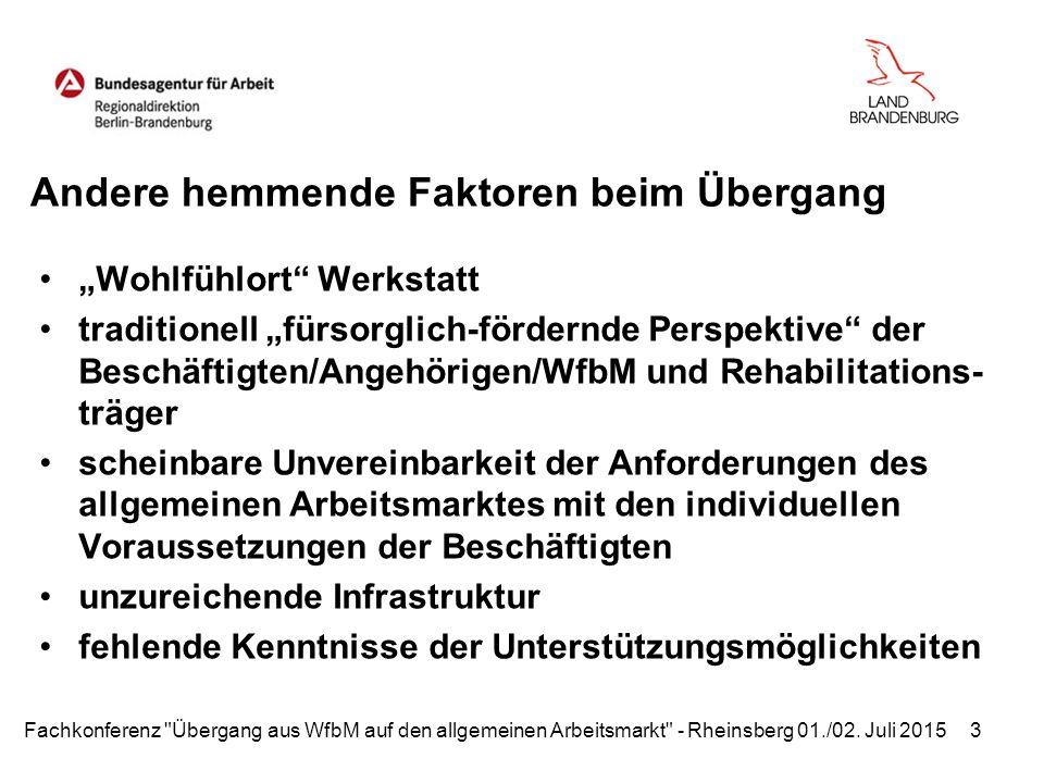 """Andere hemmende Faktoren beim Übergang """"Wohlfühlort Werkstatt traditionell """"fürsorglich-fördernde Perspektive der Beschäftigten/Angehörigen/WfbM und Rehabilitations- träger scheinbare Unvereinbarkeit der Anforderungen des allgemeinen Arbeitsmarktes mit den individuellen Voraussetzungen der Beschäftigten unzureichende Infrastruktur fehlende Kenntnisse der Unterstützungsmöglichkeiten Fachkonferenz Übergang aus WfbM auf den allgemeinen Arbeitsmarkt - Rheinsberg 01./02."""
