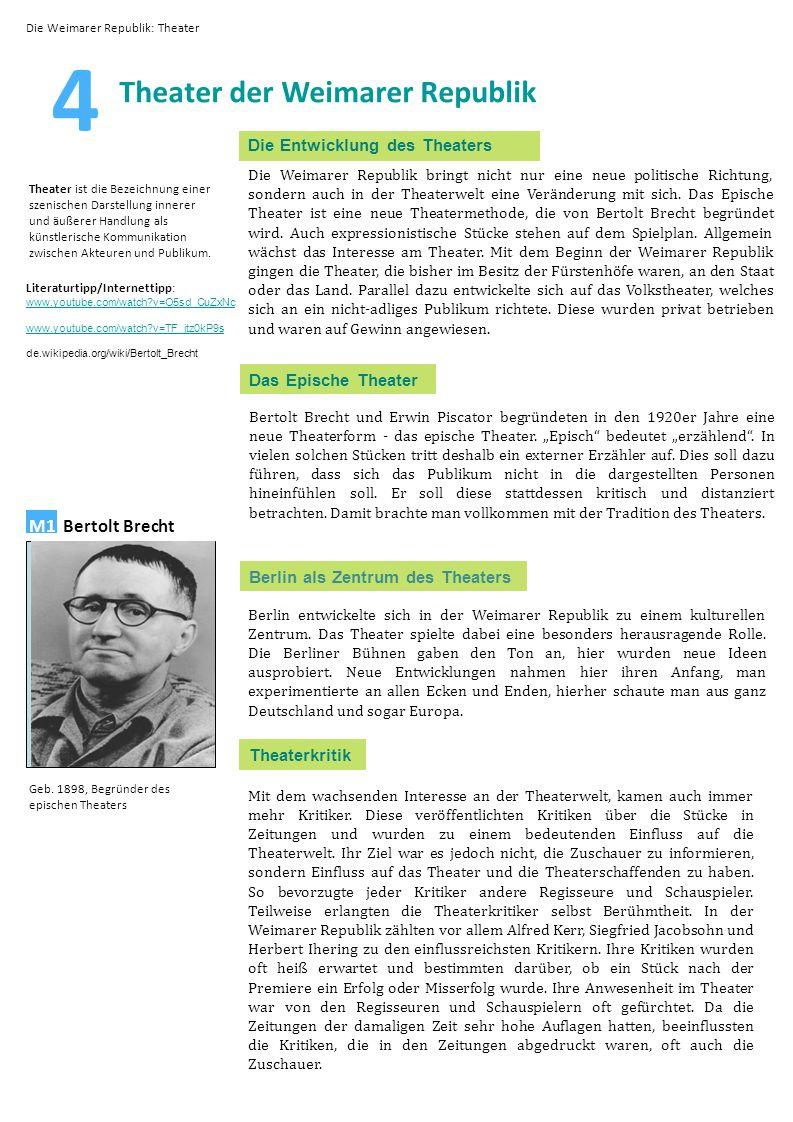 4 Theater der Weimarer Republik Die Entwicklung des Theaters Die Weimarer Republik bringt nicht nur eine neue politische Richtung, sondern auch in der