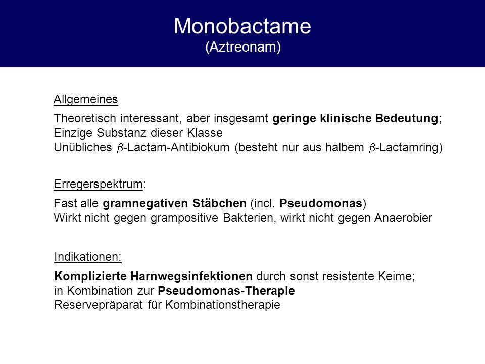 Monobactame (Aztreonam) Allgemeines Theoretisch interessant, aber insgesamt geringe klinische Bedeutung; Einzige Substanz dieser Klasse Unübliches  -