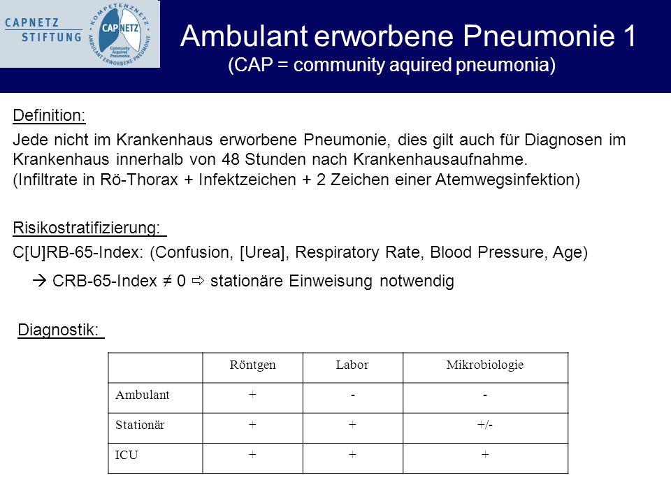 Definition: Jede nicht im Krankenhaus erworbene Pneumonie, dies gilt auch für Diagnosen im Krankenhaus innerhalb von 48 Stunden nach Krankenhausaufnah