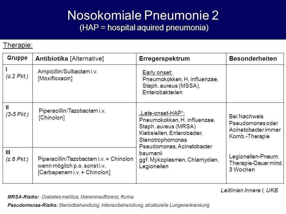 Nosokomiale Pneumonie 2 (HAP = hospital aquired pneumonia) Therapie: Gruppe Antibiotika [Alternative]ErregerspektrumBesonderheiten I (≤ 2 Pkt.) II (3-