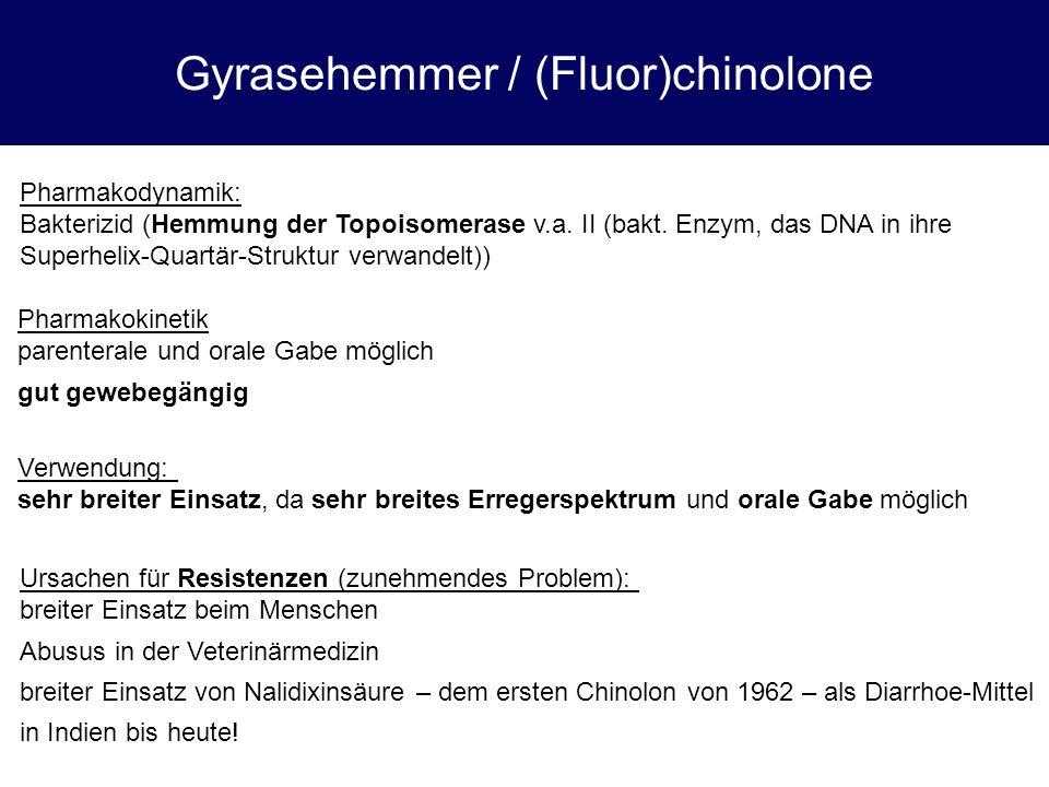 Gyrasehemmer / (Fluor)chinolone Pharmakodynamik: Bakterizid (Hemmung der Topoisomerase v.a. II (bakt. Enzym, das DNA in ihre Superhelix-Quartär-Strukt