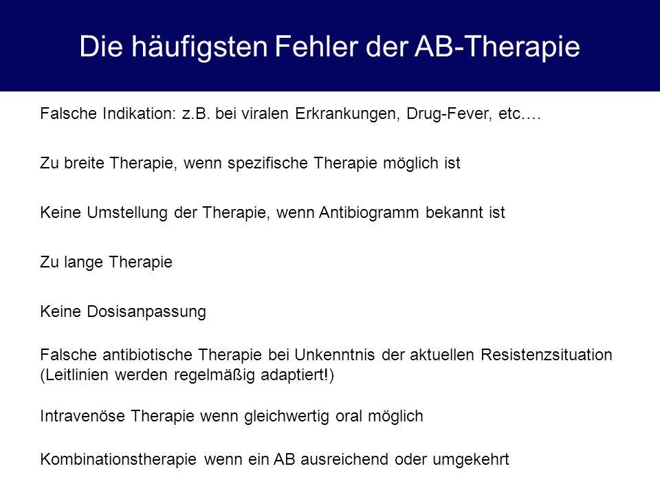 Die häufigsten Fehler der AB-Therapie Falsche Indikation: z.B. bei viralen Erkrankungen, Drug-Fever, etc…. Zu breite Therapie, wenn spezifische Therap