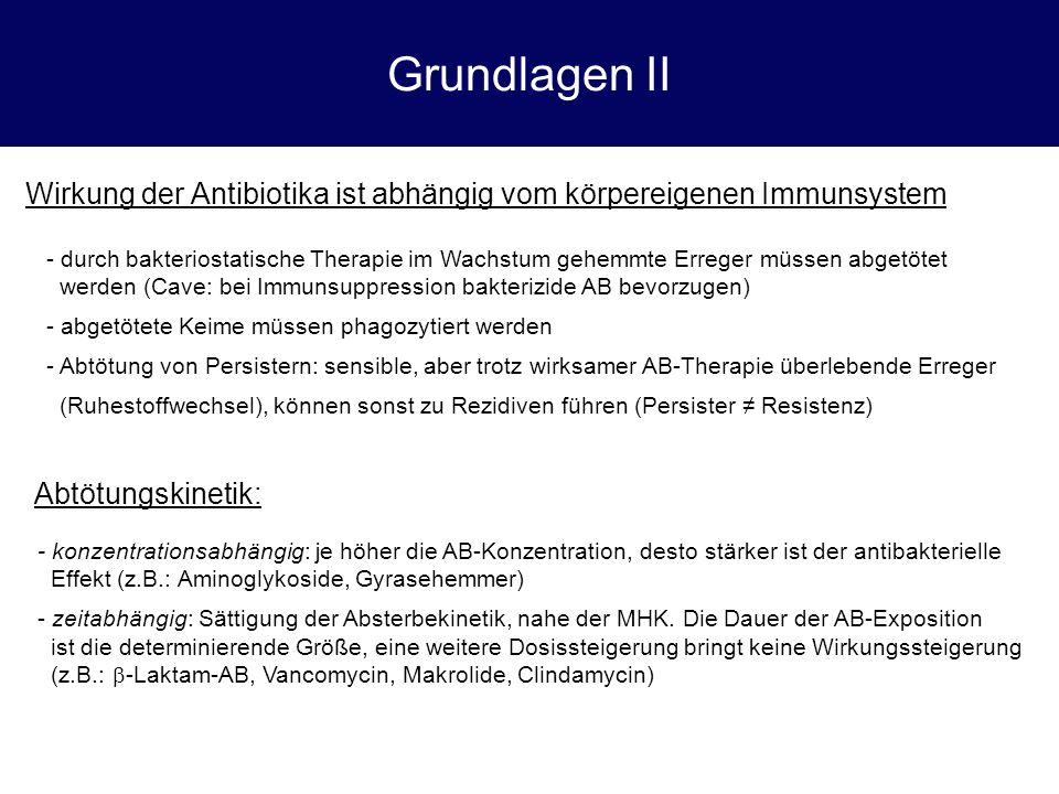 Monobactame (Aztreonam) Allgemeines Theoretisch interessant, aber insgesamt geringe klinische Bedeutung; Einzige Substanz dieser Klasse Unübliches  -Lactam-Antibiokum (besteht nur aus halbem  -Lactamring) Erregerspektrum: Fast alle gramnegativen Stäbchen (incl.