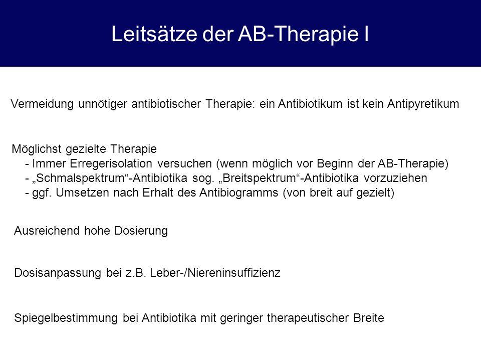 Leitsätze der AB-Therapie I Vermeidung unnötiger antibiotischer Therapie: ein Antibiotikum ist kein Antipyretikum Möglichst gezielte Therapie - Immer