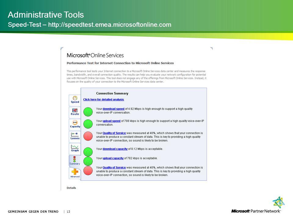 Administrative Tools Speed-Test – http://speedtest.emea.microsoftonline.com GEMEINSAM GEGEN DEN TREND | 13