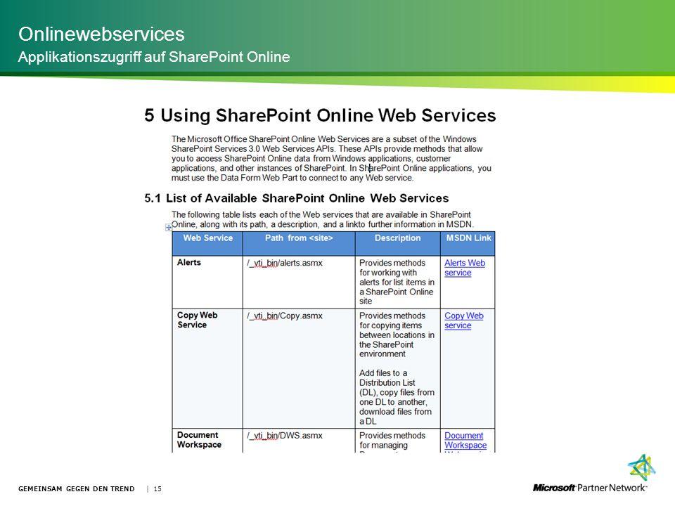 Onlinewebservices Applikationszugriff auf SharePoint Online GEMEINSAM GEGEN DEN TREND | 15