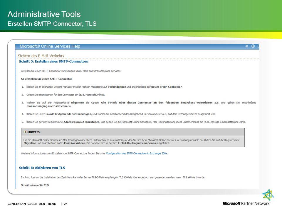 Administrative Tools Erstellen SMTP-Connector, TLS | 24GEMEINSAM GEGEN DEN TREND