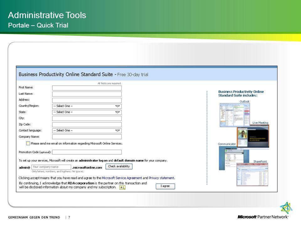 Administrative Tools Portale – Quick Trial | 7GEMEINSAM GEGEN DEN TREND