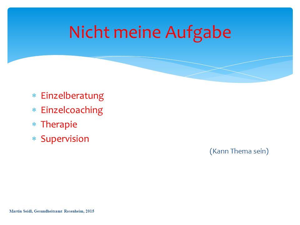  Einzelberatung  Einzelcoaching  Therapie  Supervision (Kann Thema sein) Nicht meine Aufgabe Martin Seidl, Gesundheitsamt Rosenheim, 2015