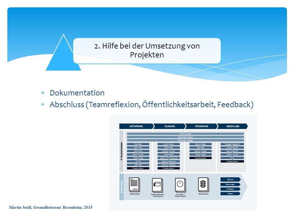 2. Hilfe bei der Umsetzung von Projekten  Dokumentation  Abschluss (Teamreflexion, Öffentlichkeitsarbeit, Feedback) Martin Seidl, Gesundheitsamt Ros