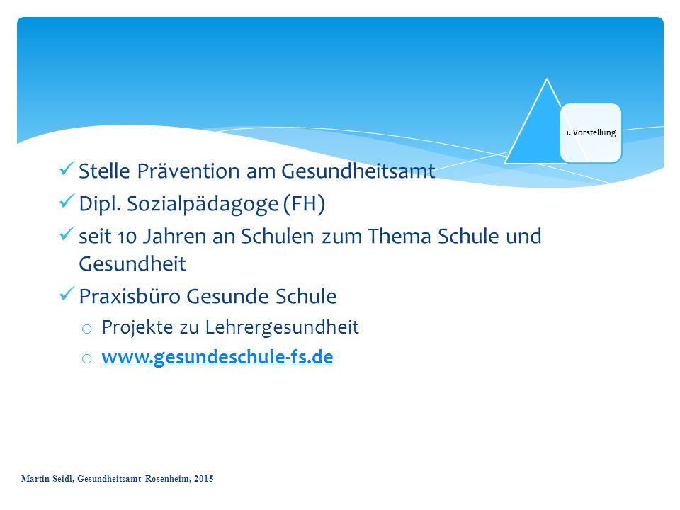 1. Vorstellung Stelle Prävention am Gesundheitsamt Dipl. Sozialpädagoge (FH) seit 10 Jahren an Schulen zum Thema Schule und Gesundheit Praxisbüro Gesu