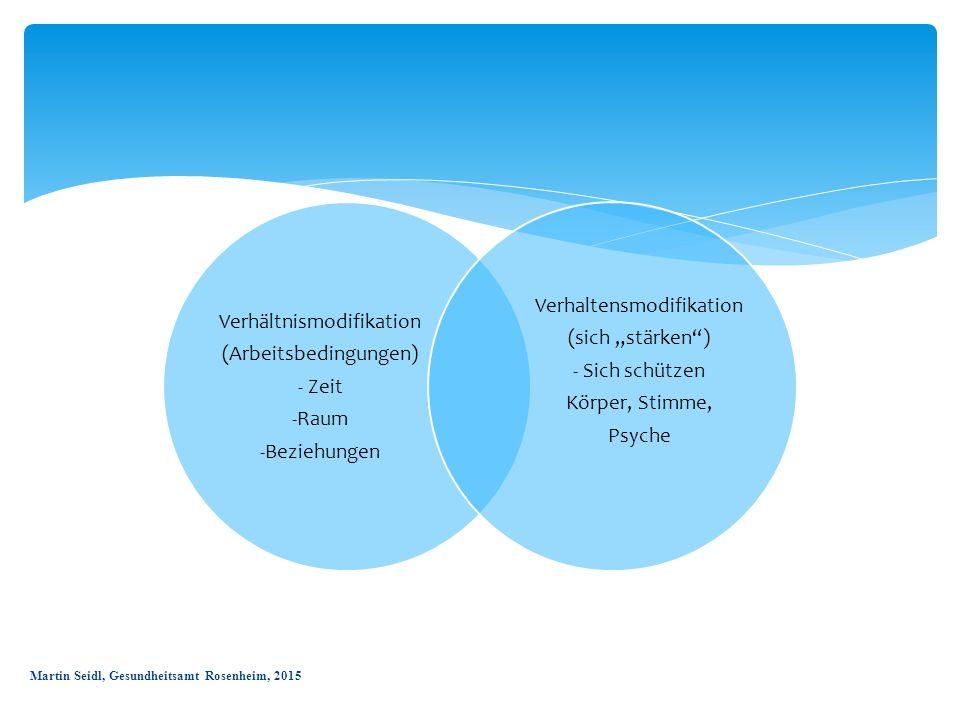 """Verhältnismodifikation (Arbeitsbedingungen) - Zeit -Raum -Beziehungen Verhaltensmodifikation (sich """"stärken"""") - Sich schützen Körper, Stimme, Psyche M"""