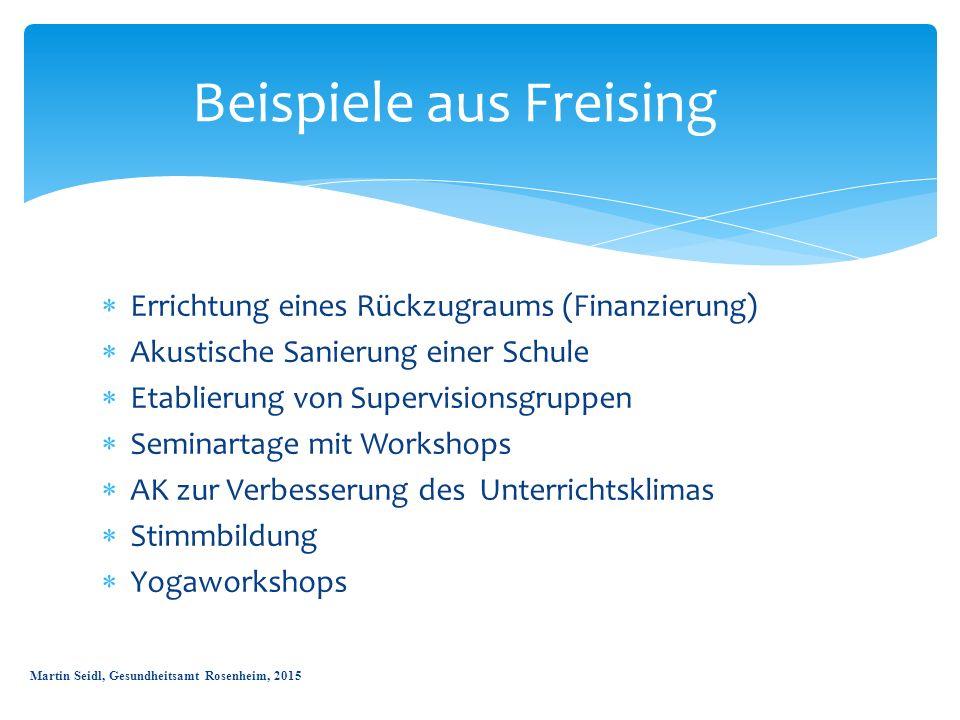  Errichtung eines Rückzugraums (Finanzierung)  Akustische Sanierung einer Schule  Etablierung von Supervisionsgruppen  Seminartage mit Workshops 