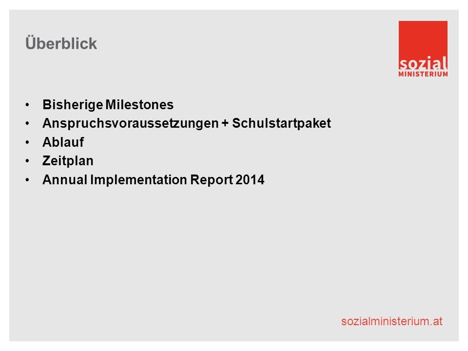 sozialministerium.at Überblick Bisherige Milestones Anspruchsvoraussetzungen + Schulstartpaket Ablauf Zeitplan Annual Implementation Report 2014