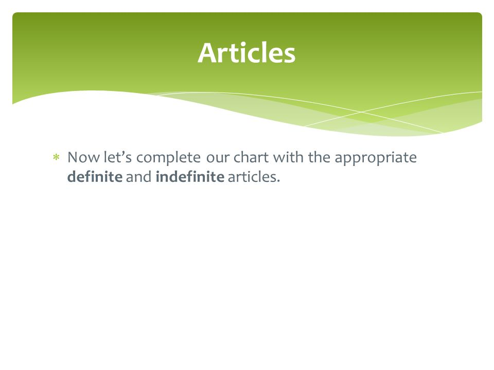  Now let's complete our chart with the appropriate definite and indefinite articles. Articles