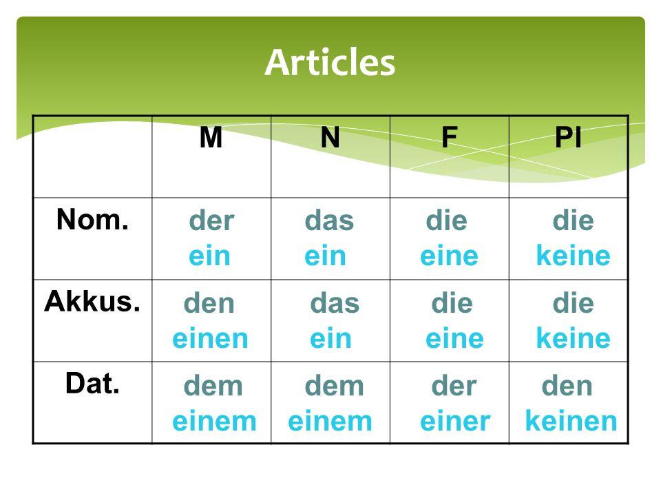 Articles MNFPl Nom.Akkus. Dat.