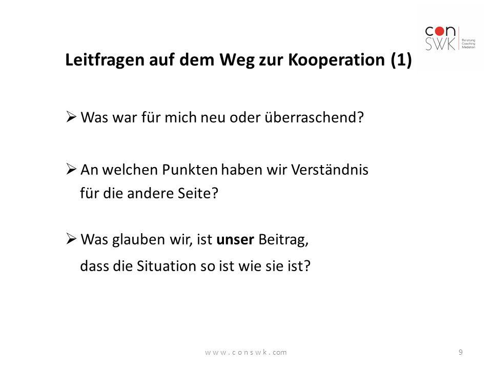Leitfragen auf dem Weg zur Kooperation (2)  Was sind wir bereit, anders zu machen (z.B.