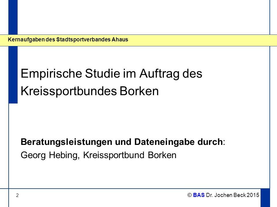 2 © BAS Dr. Jochen Beck 2015 Kernaufgaben des Stadtsportverbandes Ahaus Empirische Studie im Auftrag des Kreissportbundes Borken Beratungsleistungen u