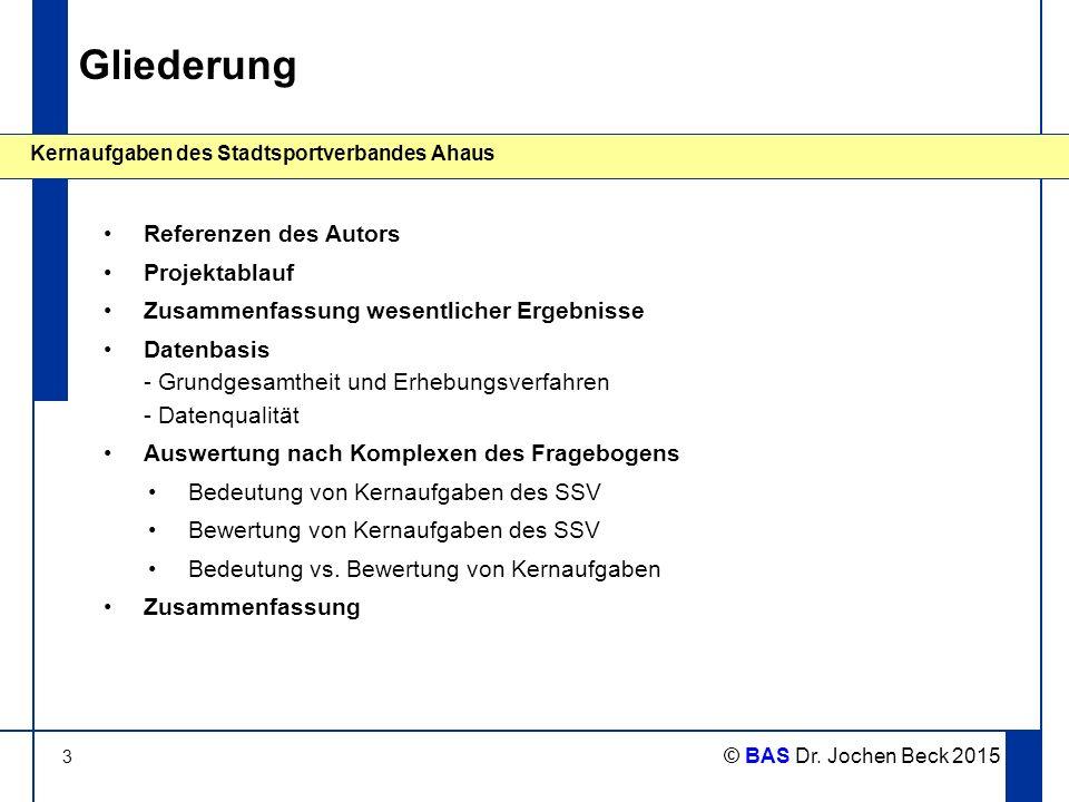 3 Kernaufgaben des Stadtsportverbandes Ahaus © BAS Dr. Jochen Beck 2015 Gliederung Referenzen des Autors Projektablauf Zusammenfassung wesentlicher Er