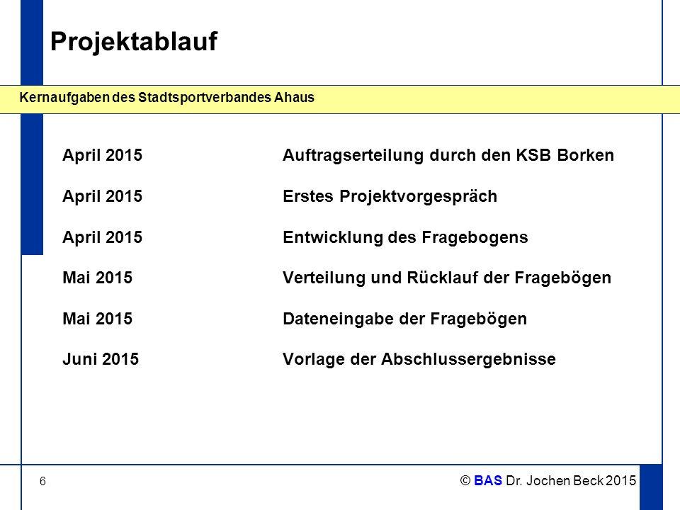 6 Kernaufgaben des Stadtsportverbandes Ahaus © BAS Dr. Jochen Beck 2015 Projektablauf April 2015Auftragserteilung durch den KSB Borken April 2015Erste