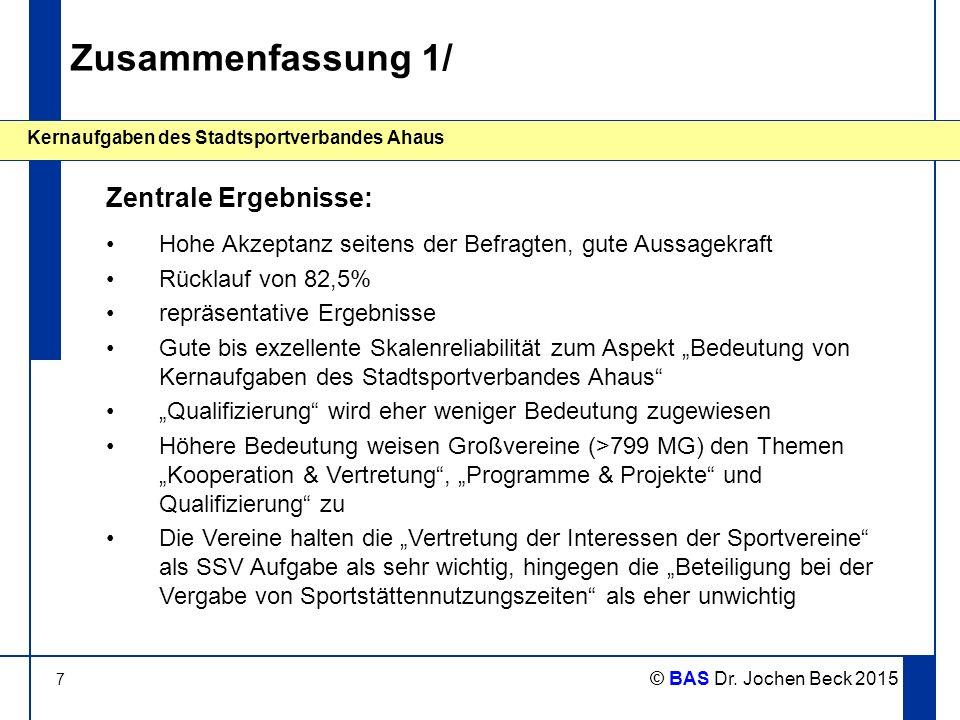 7 Kernaufgaben des Stadtsportverbandes Ahaus © BAS Dr. Jochen Beck 2015 Zusammenfassung 1/ Hohe Akzeptanz seitens der Befragten, gute Aussagekraft Rüc