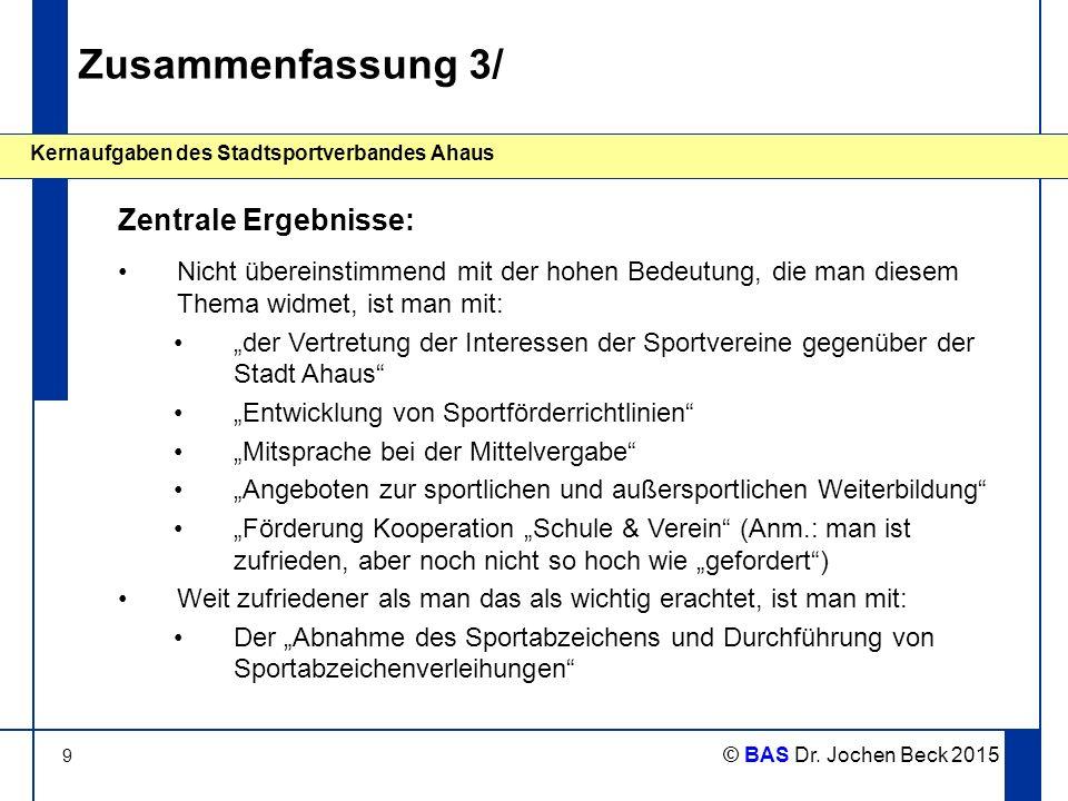9 Kernaufgaben des Stadtsportverbandes Ahaus © BAS Dr. Jochen Beck 2015 Zusammenfassung 3/ Nicht übereinstimmend mit der hohen Bedeutung, die man dies