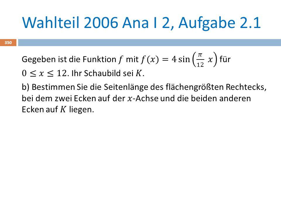 Wahlteil 2006 Ana I 2, Aufgabe 2.1 350