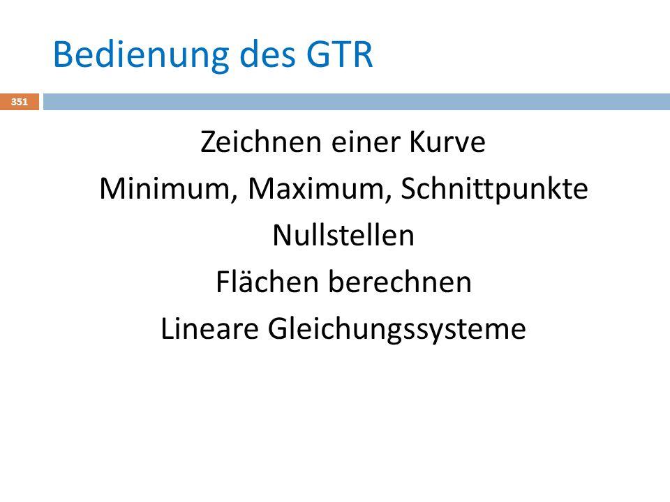 Bedienung des GTR 351 Zeichnen einer Kurve Minimum, Maximum, Schnittpunkte Nullstellen Flächen berechnen Lineare Gleichungssysteme