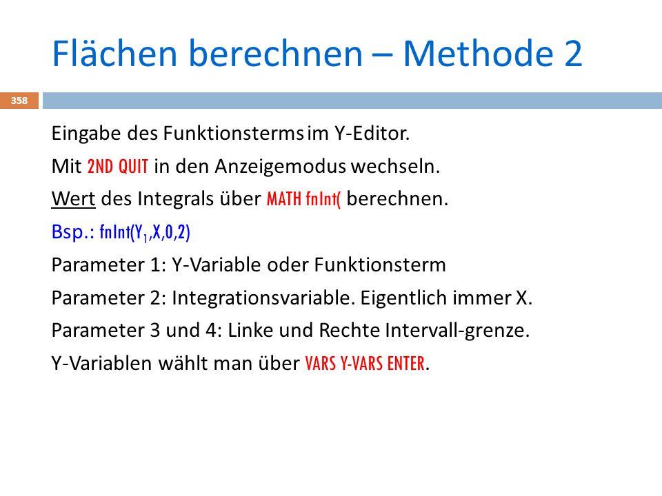 Flächen berechnen – Methode 2 358 Eingabe des Funktionsterms im Y-Editor.