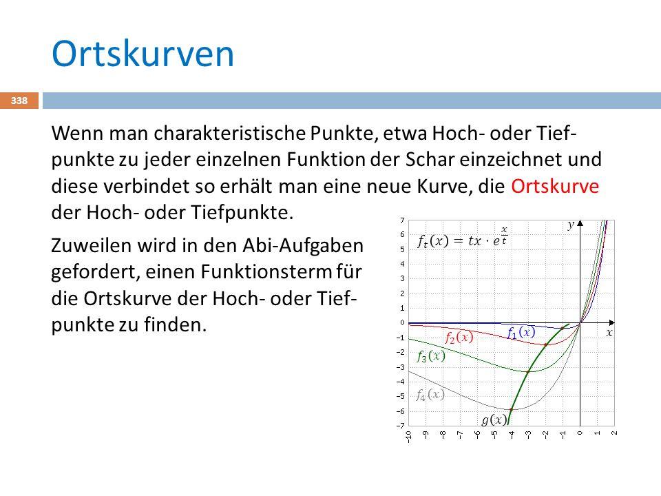 Ortskurven 338 Wenn man charakteristische Punkte, etwa Hoch- oder Tief- punkte zu jeder einzelnen Funktion der Schar einzeichnet und diese verbindet so erhält man eine neue Kurve, die Ortskurve der Hoch- oder Tiefpunkte.