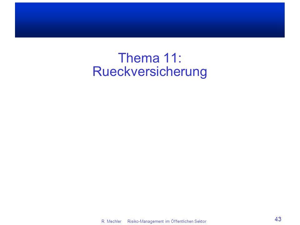Thema 11: Rueckversicherung R. Mechler Risiko-Management im Öffentlichen Sektor 43