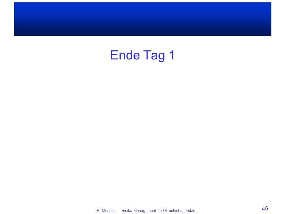 Ende Tag 1 R. Mechler Risiko-Management im Öffentlichen Sektor 46