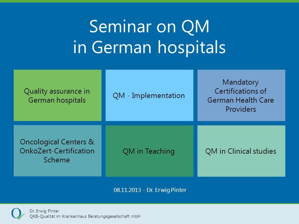 Dr. Erwig Pinter QKB-Qualität im Krankenhaus Beratungsgesellschaft mbH 1 Seminar on QM in German hospitals 08.11.2013 - Dr. Erwig Pinter Quality assur