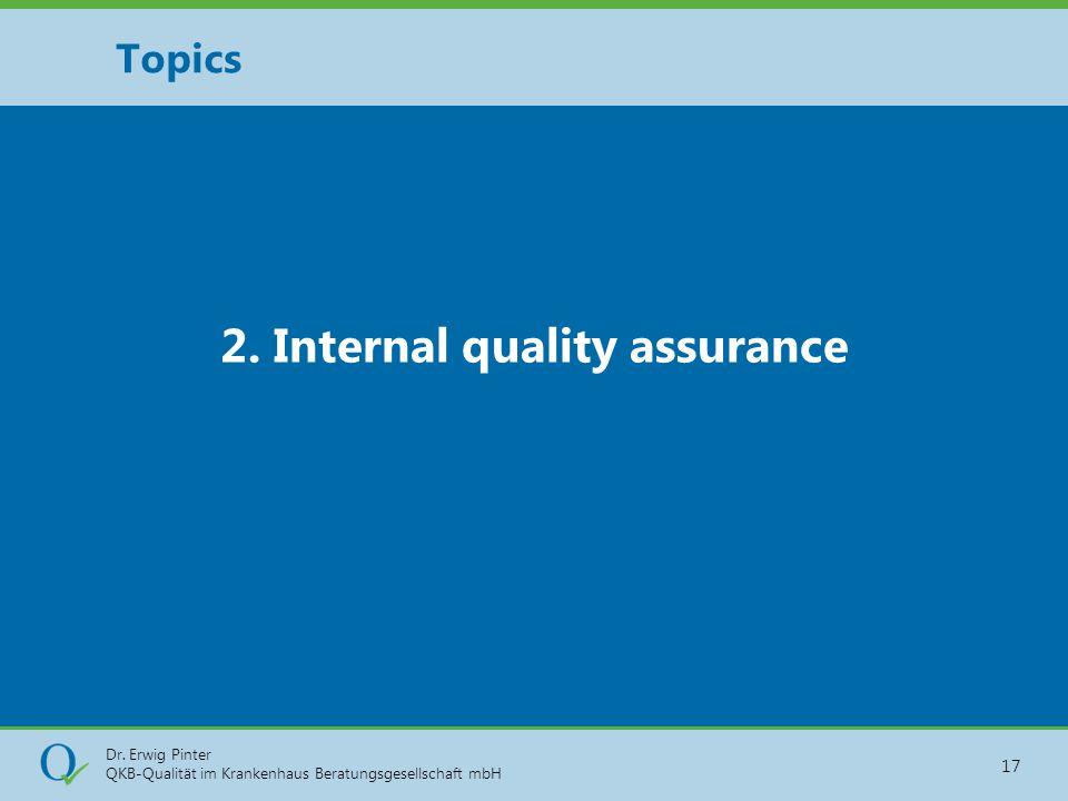 Dr. Erwig Pinter QKB-Qualität im Krankenhaus Beratungsgesellschaft mbH 17 2. Internal quality assurance Topics