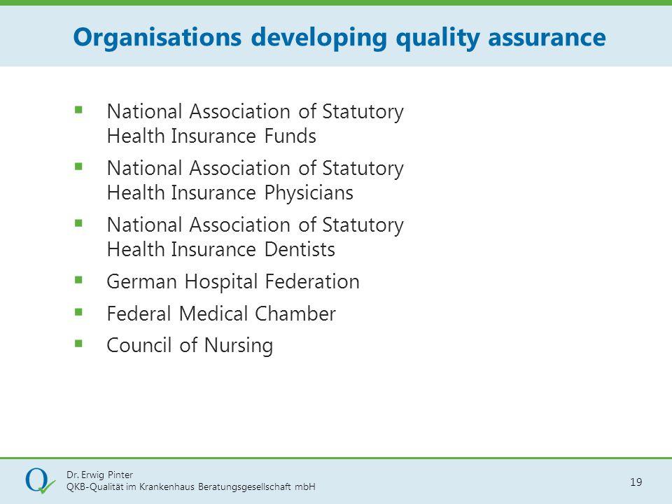Dr. Erwig Pinter QKB-Qualität im Krankenhaus Beratungsgesellschaft mbH 19  National Association of Statutory Health Insurance Funds  National Associ