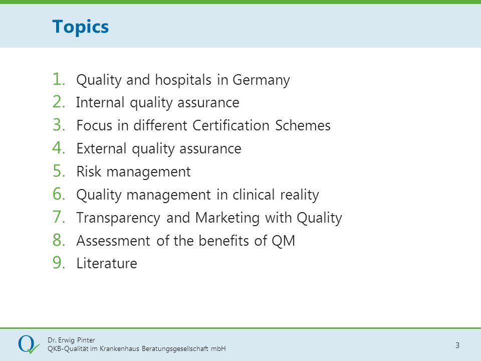 Dr. Erwig Pinter QKB-Qualität im Krankenhaus Beratungsgesellschaft mbH 3 1. Quality and hospitals in Germany 2. Internal quality assurance 3. Focus in