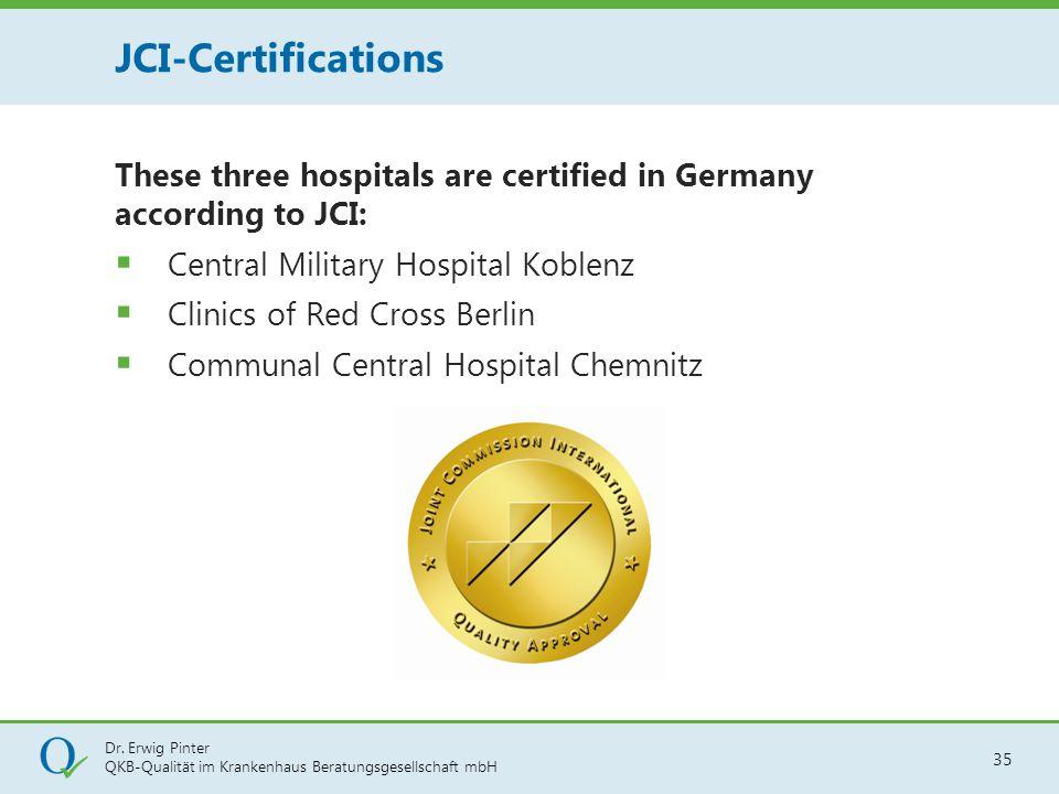 Dr. Erwig Pinter QKB-Qualität im Krankenhaus Beratungsgesellschaft mbH 35 These three hospitals are certified in Germany according to JCI:  Central M