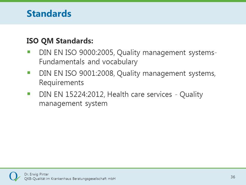 Dr. Erwig Pinter QKB-Qualität im Krankenhaus Beratungsgesellschaft mbH 36 ISO QM Standards:  DIN EN ISO 9000:2005, Quality management systems- Fundam