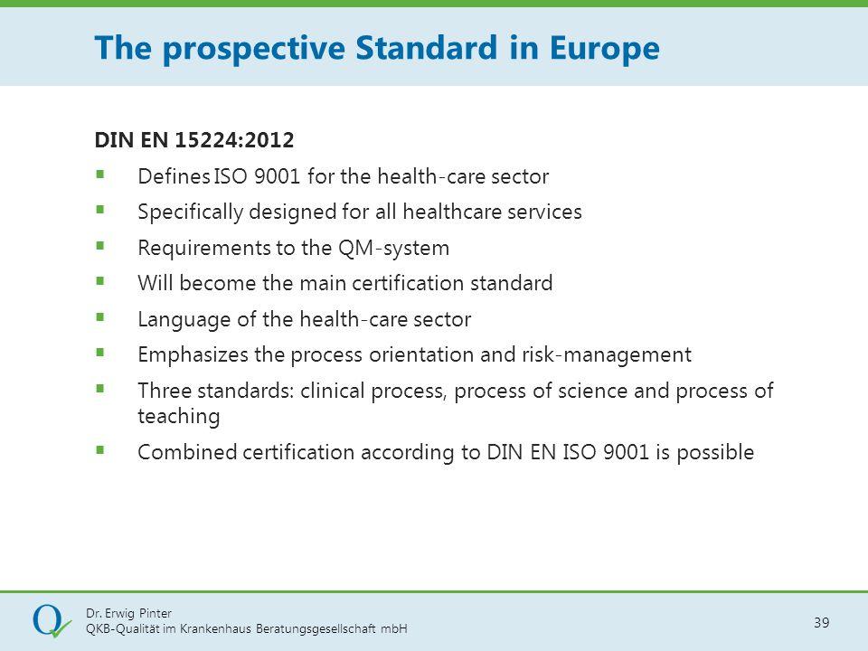 Dr. Erwig Pinter QKB-Qualität im Krankenhaus Beratungsgesellschaft mbH 39 DIN EN 15224:2012  Defines ISO 9001 for the health-care sector  Specifical
