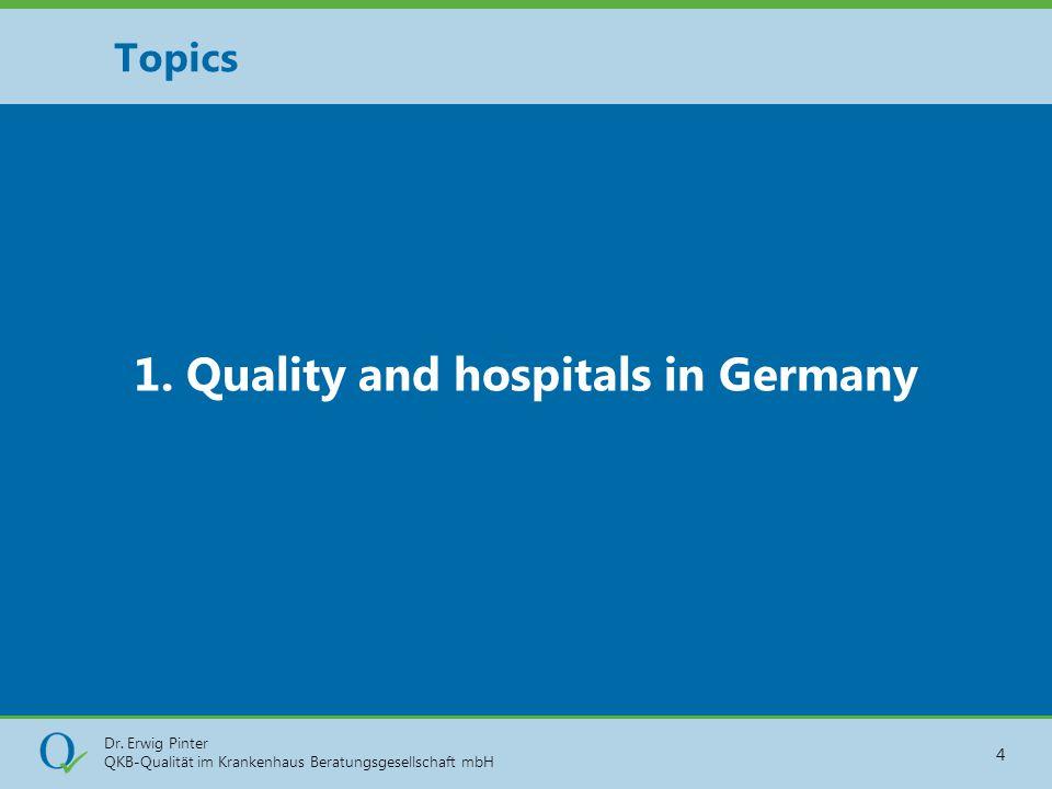 Dr. Erwig Pinter QKB-Qualität im Krankenhaus Beratungsgesellschaft mbH 4 1. Quality and hospitals in Germany Topics