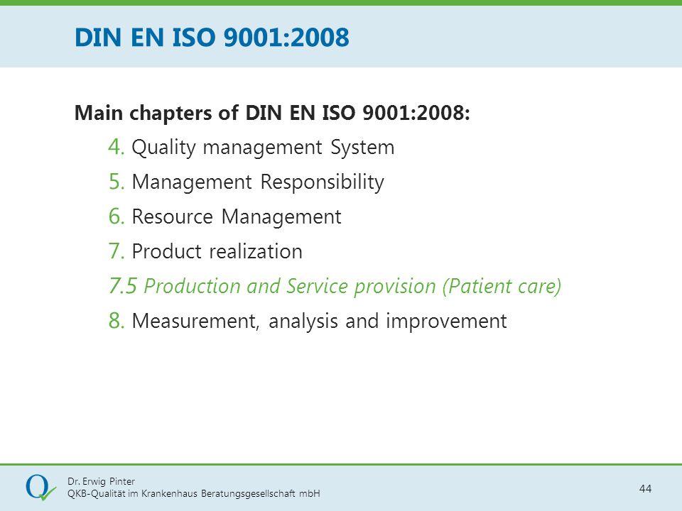 Dr. Erwig Pinter QKB-Qualität im Krankenhaus Beratungsgesellschaft mbH 44 Main chapters of DIN EN ISO 9001:2008: 4. Quality management System 5. Manag