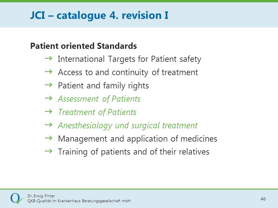 Dr. Erwig Pinter QKB-Qualität im Krankenhaus Beratungsgesellschaft mbH 46 Patient oriented Standards  International Targets for Patient safety  Acce