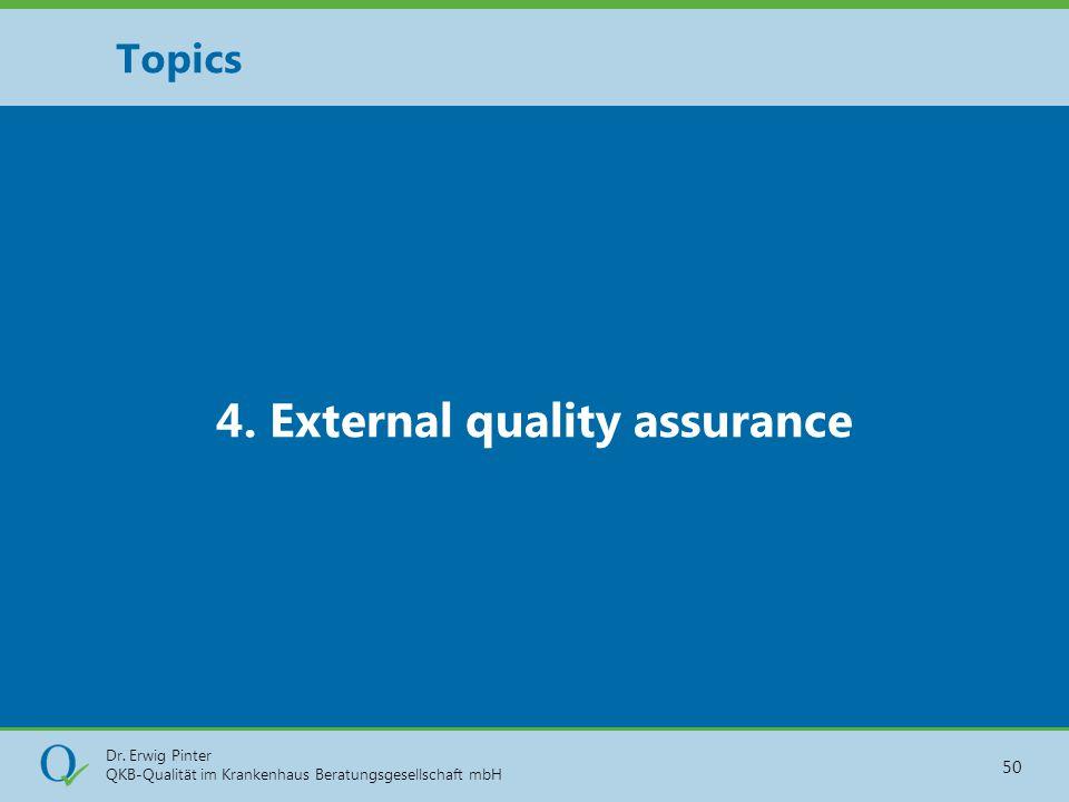 Dr. Erwig Pinter QKB-Qualität im Krankenhaus Beratungsgesellschaft mbH 50 4. External quality assurance Topics