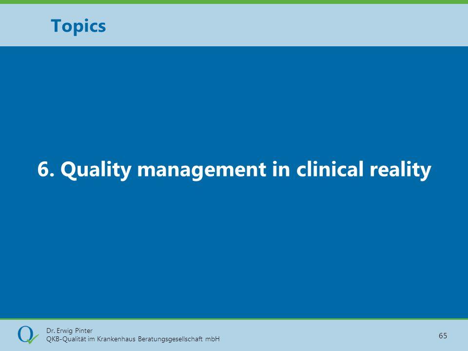 Dr. Erwig Pinter QKB-Qualität im Krankenhaus Beratungsgesellschaft mbH 65 6. Quality management in clinical reality Topics