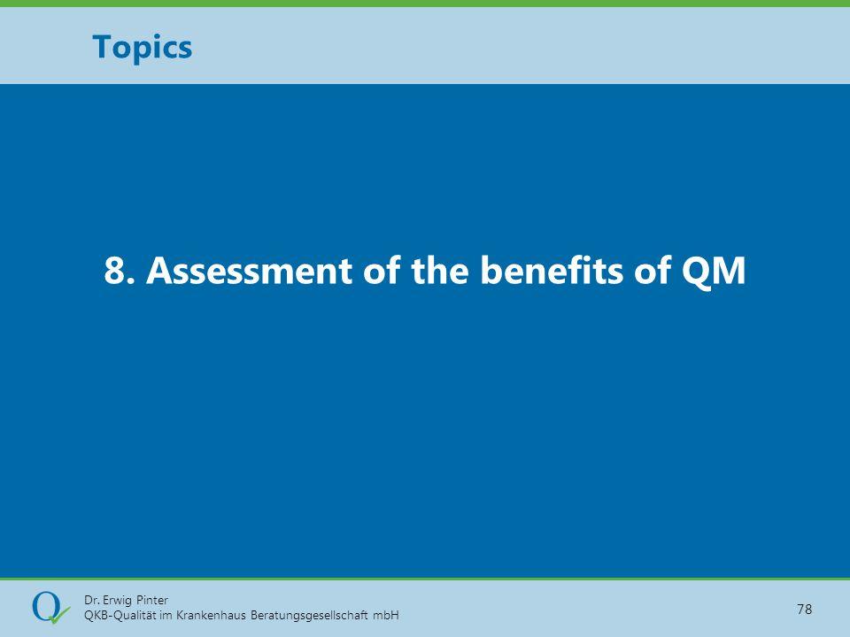 Dr. Erwig Pinter QKB-Qualität im Krankenhaus Beratungsgesellschaft mbH 78 8. Assessment of the benefits of QM Topics