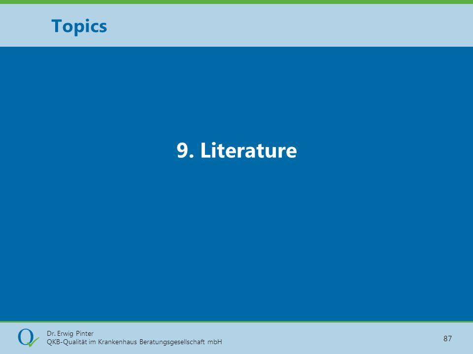 Dr. Erwig Pinter QKB-Qualität im Krankenhaus Beratungsgesellschaft mbH 87 9. Literature Topics