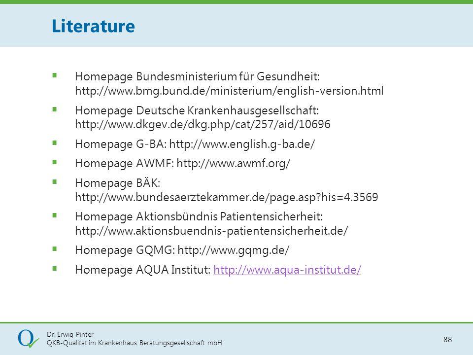 Dr. Erwig Pinter QKB-Qualität im Krankenhaus Beratungsgesellschaft mbH 88  Homepage Bundesministerium für Gesundheit: http://www.bmg.bund.de/minister